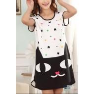 Pijama vestidinho camisetão estampado feminino Ref 2412