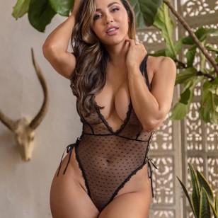 Body lingerie sexy transparente lançamentos Ref 1879