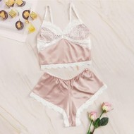 Conjunto baby doll pijama de seda feminino Ref 1984