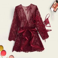 Conjunto pijama luxo marsala robe sutiã e calcinha Ref 1967