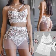 Conjunto de lingerie branca 3 peças Ref 2027