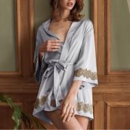 Robe manga larga luxo renda elegante Ref 1863