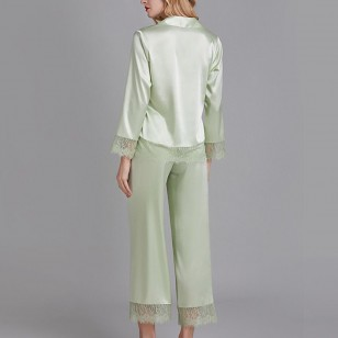 Conjunto de pijama luxo seda com renda Ref 1867