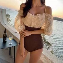 Body elegante com amarração renda e mangas Ref 3284