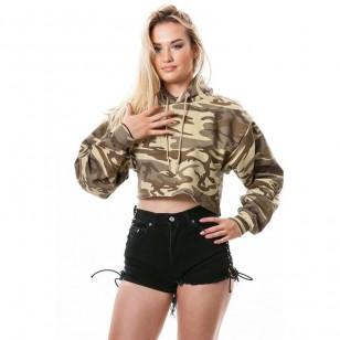 Blusa moletom feminino militar camuflado com capuz Ref 990