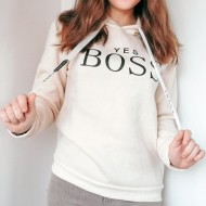 Moletom yes boss feminino off white Ref 1290