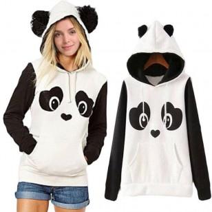 Moletom feminino urso panda com capuz Ref 1291