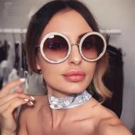 Óculos luxo redondo com pedras Ref 1045