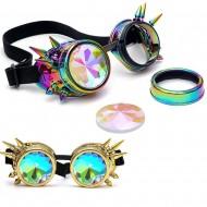 Óculos de festa rave eletrônica lente colorida e spikes Ref 1990