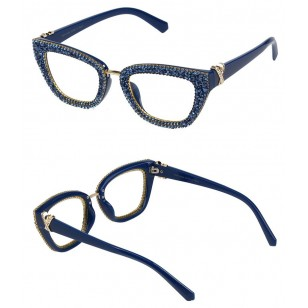 Óculos feminino azul pedrarias sem grau Ref 1369