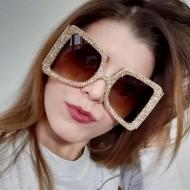 Óculos brilhantes Swarovski dourado Ref 1356