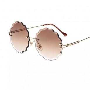 Óculos de sol lente redonda e borda nuvem Ref 1042