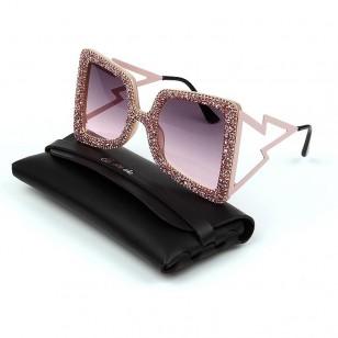 Óculos Rose Gold brilhantes luxo Ref 1357