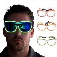 Óculos festa rave eletrônica com luz led e controle Ref 2000