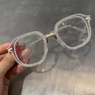 Óculos armação com strass lente transparente Ref 1522