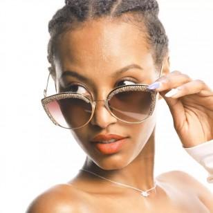 Óculos coleção luxo strass dourado Ref 1058