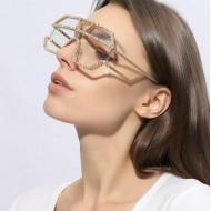 Óculos strass brilhantes luxo feminino moderno Ref 1519