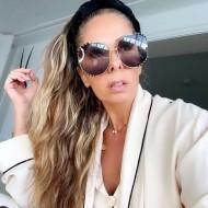 Óculos Adriane Galisteu redondo grande de sol Ref 3237