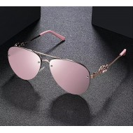Óculos de sol feminino espelhado lente rosa Ref 3380
