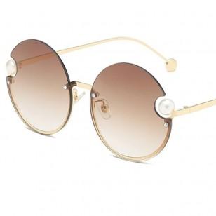 Óculos grande feminino redondo com pérola esfera Ref 3287
