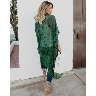 Saída de praia robe verde decorada Ref 283