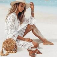 Saída de praia crochet manga flare Ref 269