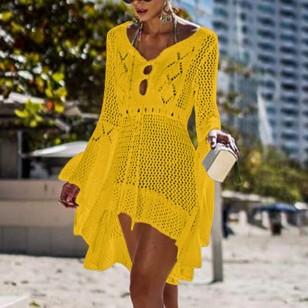 Saída de praia em crochê amarela Ref 289