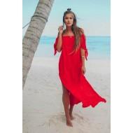 Saída de praia longa vermelha com fenda Ref 907