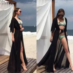 Saída de praia robe luxo chiffon Ref 1490