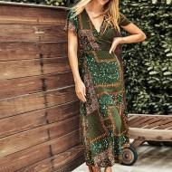Vestido longuete estampa étnica Ref 1164