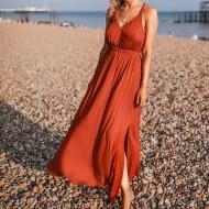 Vestido longo de praia moda verão Ref 409