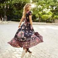 Vestido étnico floral com fenda Ref 1127