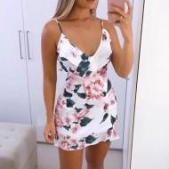 Vestido decote babados traspassado floral Ref 633
