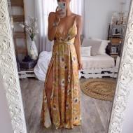 Vestido longo amarelo floral decote V Ref 785