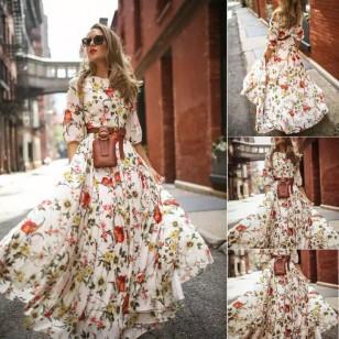 Vestido longo floral coleção nova Ref 1136