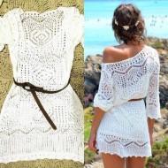Vestido branco de crochê manga três quartos Ref 400