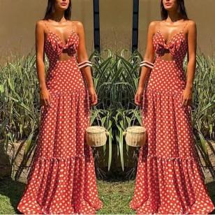 Vestido vermelho longo de bolinhas Ref 385