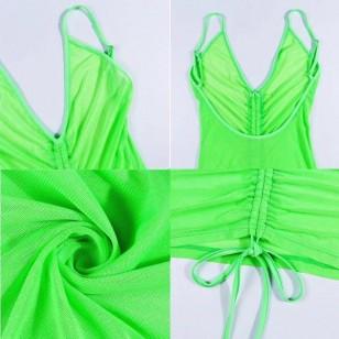 Vestido neon verde moda praia 2020 Ref 658