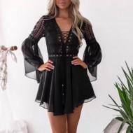Vestido de renda preto vintage manga longa Ref 501