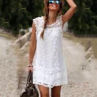 Vestido de praia em crochê Ref 504