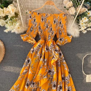 Vestido longo tomara que caia floral Ref 401