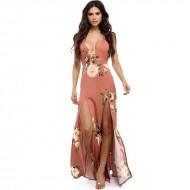 Vestido longo floral com fendas 1007