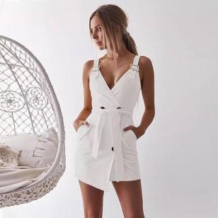 Vestido branco transpassado com faixa Ref 657