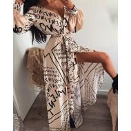 Vestido longo estampado coleção luxo Ref 1137