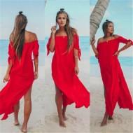 Vestido de praia longo vermelho Ref 577