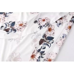 Vestido chiffon floral com renda Ref 408