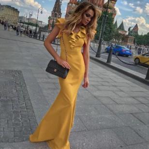Vestido longo de gala festa mostarda Ref 1092