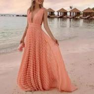 Vestido de praia longo crochê Ref 485