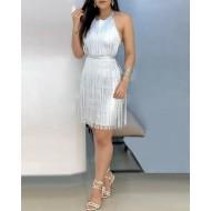 Vestido de festa prata tubinho com fios Ref 1079