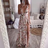 Vestido longo floral com fendas Ref 784